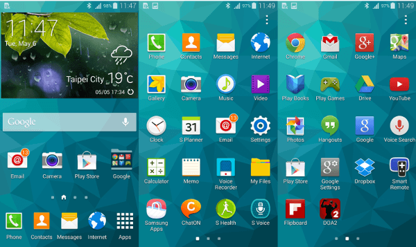 Smartphone : Samsung Galaxy S5 - Interface TouchWiz