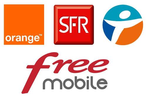 Opérateurs mobiles français : Bouygue Télécom, Free Mobile, Orange, SFR