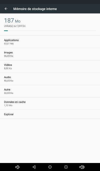 Klipad Smart i745 : Mémoire de stockage interne