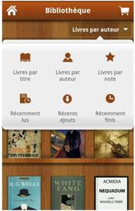 Application Aldiko : Classement / trie de la bibliothèque