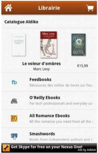 Application Aldiko : Accès aux librairies en ligne