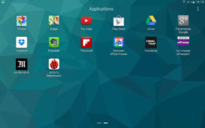 "Tablette Samsung Galaxy S 10.5"" : liste des applications (second écran)"
