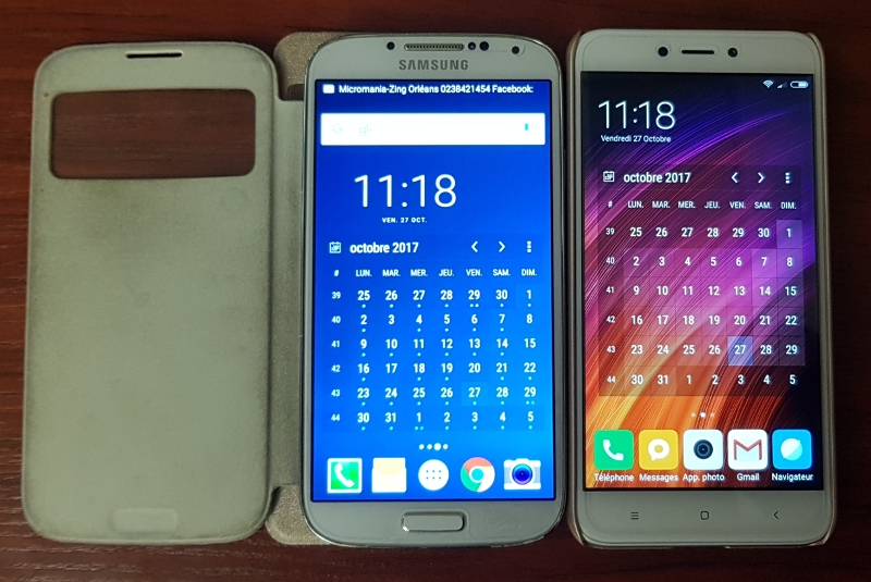 Samsung Galaxy S4 (à gauche) VS Xiaomi Redmi 4X (à droite)