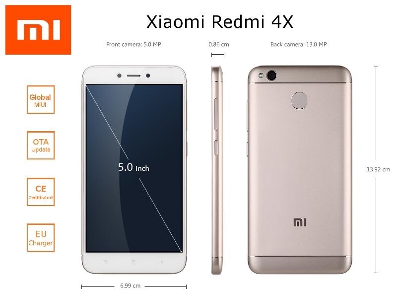Xiaomi Redmi 4X : design et spécifications