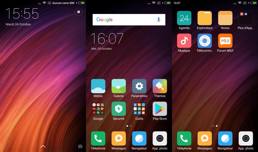 Xiaomi Redmi 4X : L'interface MIUI et les différents écrans et applications préinstallés